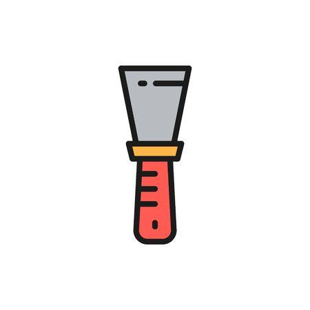 Couteau à mastic de vecteur, spatule, icône de ligne de couleur plate de travail de peinture. Conception d'illustration de symbole et de signe. Isolé sur fond blanc