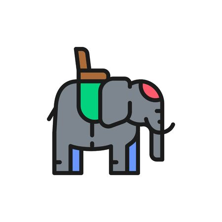 Indian elephant with a saddle flat color line icon.