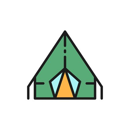 Vector camping tent, travel pavilion flat color line icon.