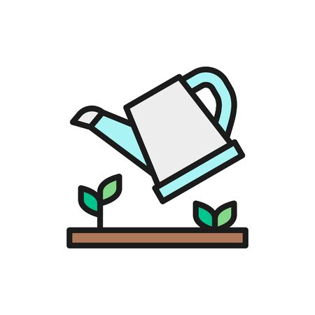 Vector watering plants, watering can flat color line icon. Symbol and sign illustration design. Isolated on white background
