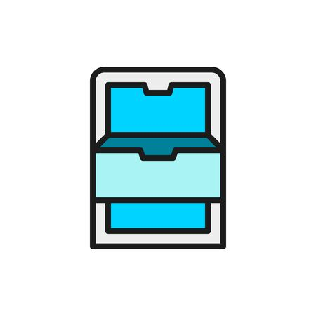 Vector freezer with drawers, fridge flat color line icon.