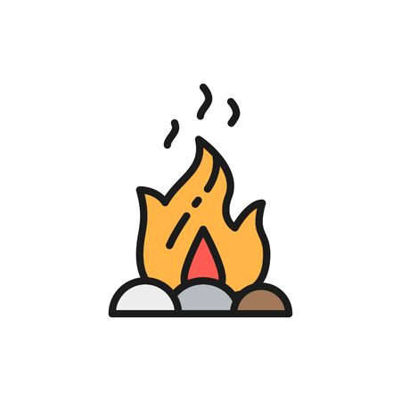 Vector campfire, fire, bonfire flat color line icon. Symbol and sign illustration design. Isolated on white background Illustration