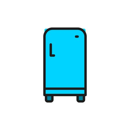 Vector retro fridge, single compartment refrigerator flat color line icon. Symbol and sign illustration design. Isolated on white background