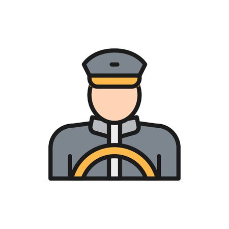 Vector taxi driver, cabbie, cabby flat color line icon. Symbol and sign illustration design. Isolated on white background