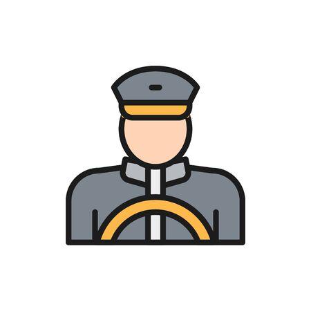 Vector taxista, taxista, taxista icono de línea de color liso. Diseño de ilustración de símbolo y signo. Aislado sobre fondo blanco Ilustración de vector