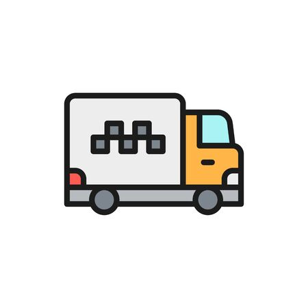 Vector cargo taxi, truck, delivery flat color line icon. Symbol and sign illustration design. Isolated on white background