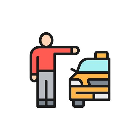 Vector man catching taxi cab, hitchhiking flat color line icon. Symbol and sign illustration design. Isolated on white background