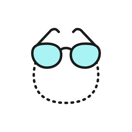 Vector glasses on a chain flat color line icon. Symbol and sign illustration design. Isolated on white background