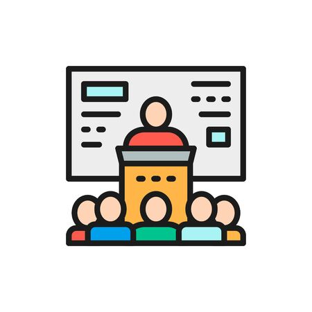 Vector business conference, presentation, seminar flat color line icon.
