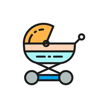 Vector baby carriage, stroller for newborn, pram flat color line icon. Symbol and sign illustration design. Isolated on white background