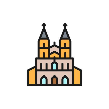 Vector Cologne Cathedral, landmark of German flat color line icon. Symbol and sign illustration design. Isolated on white background