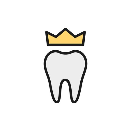 Vector dental crown, denture flat color line icon. Symbol and sign illustration design. Isolated on white background Vettoriali