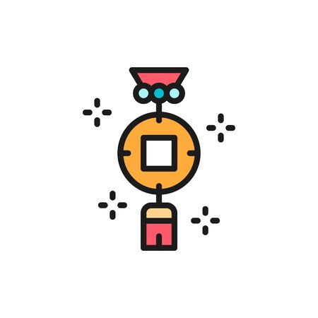 Chinese charm, feng shui coin flat color line icon. Illustration