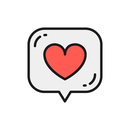 Vector heart in speech bubble, like, positive feedback flat color line icon. Symbol and sign illustration design. Isolated on white background