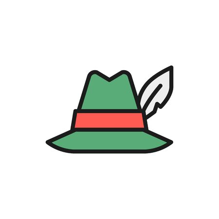 Vector hat with feather, hunter headdress flat color line icon. Symbol and sign illustration design. Isolated on white background Illustration