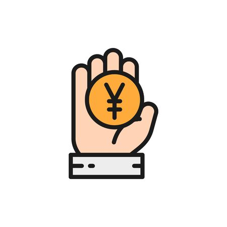 Chinese Yen, coin, money in hand flat color line icon.