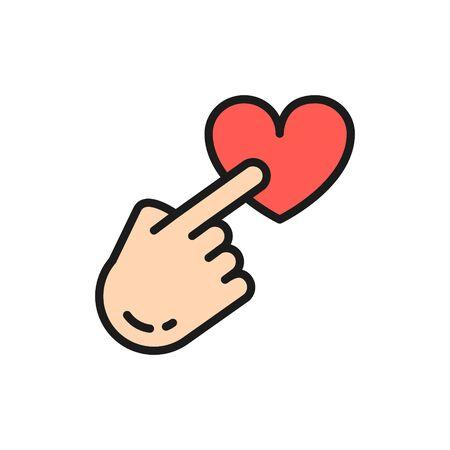 Punto del dito sul pulsante del cuore, feedback, icona della linea a colori piatta della recensione del cliente.