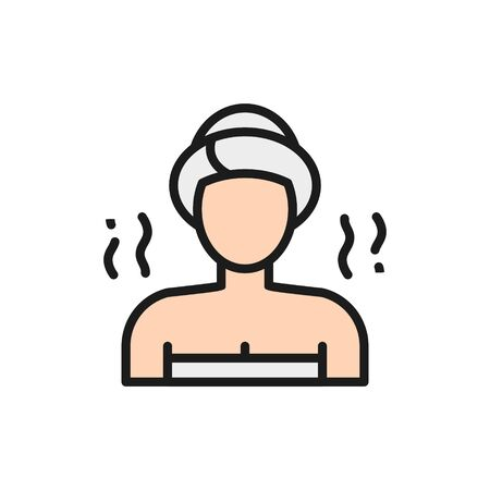 Vector girl in the sauna, bathhouse flat color line icon. Symbol and sign illustration design. Isolated on white background