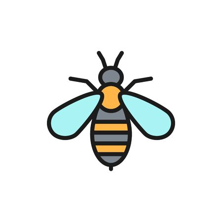 Vector bee venom therapy flat color line icon. Symbol and sign illustration design. Isolated on white background Illustration