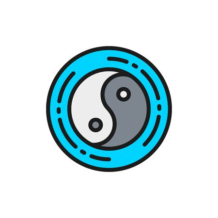 Yin yang sign, chinese symbol flat color line icon.