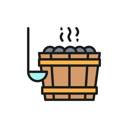 Vector sauna bucket, bucket with stones for bathhouse flat color line icon. Symbol and sign illustration design. Isolated on white background Illustration