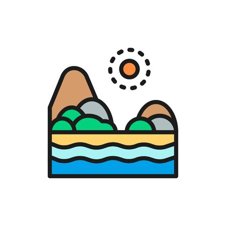 Vector sand beach with sea, brazilian landscape flat color line icon. Symbol and sign illustration design. Isolated on white background