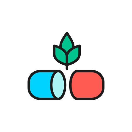 Plant with pill, herbal medicine flat color line icon.