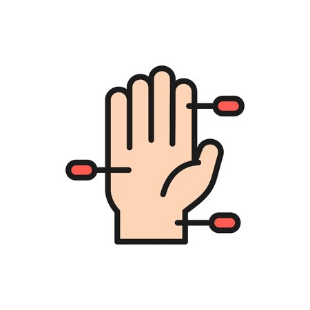 Vector hand acupuncture flat color line icon. Symbol and sign illustration design. Isolated on white background