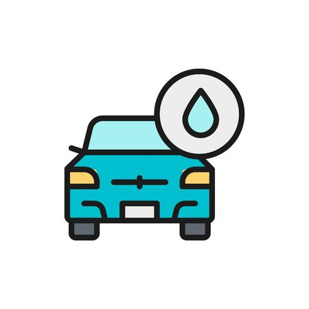 Vector car wash, auto washing flat color line icon. Symbol and sign illustration design. Isolated on white background