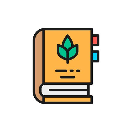 Vector encyclopedia of medicinal plants and herbs flat color line icon. Symbol and sign illustration design. Isolated on white background Illustration