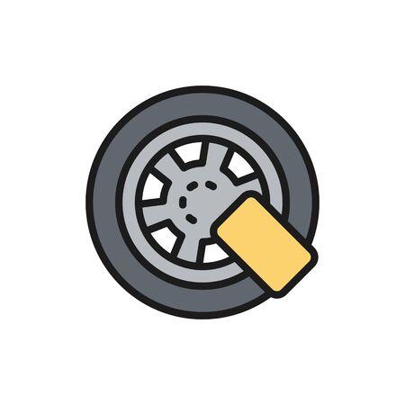 Vector car wheel lock flat color line icon. Symbol and sign illustration design. Isolated on white background Vektoros illusztráció