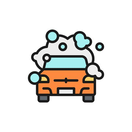Vector cleaning car flat color line icon. Symbol and sign illustration design. Isolated on white background Illustration
