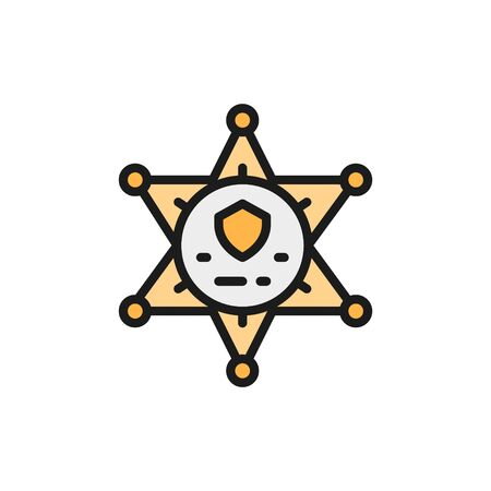 Vector sheriff star badge, police flat color line icon. Symbol and sign illustration design. Isolated on white background