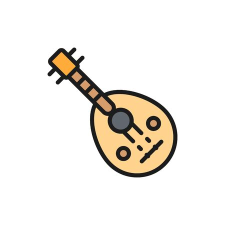 Oud, arab traditional music instrument flat color line icon.