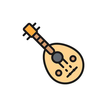 Oud, icône de ligne de couleur plate d'instrument de musique traditionnelle arabe.