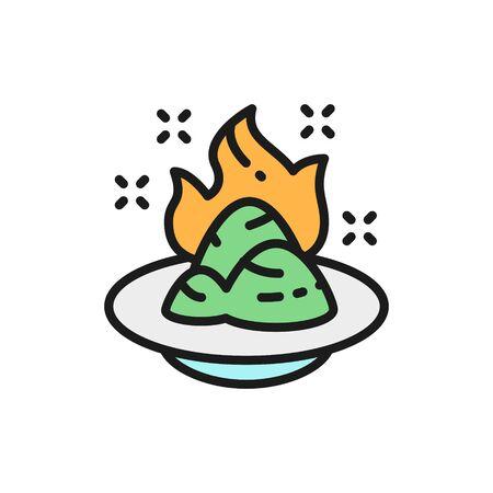 Vector wasabi, japanese horseradish, spicy seasoning flat color line icon. Symbol and sign illustration design. Isolated on white background