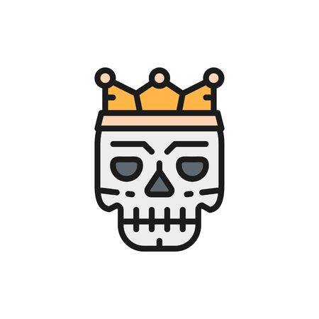 Vector death mask, tattoo sketch flat color line icon.
