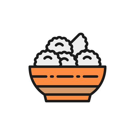 Vector vareniki, dumplings, ukrainian cuisine flat color line icon. Symbol and sign illustration design. Isolated on white background