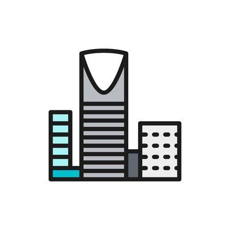 Burj Al-Mamlyak, Kingdom Center, icône de ligne de couleur plate de gratte-ciel. Vecteurs