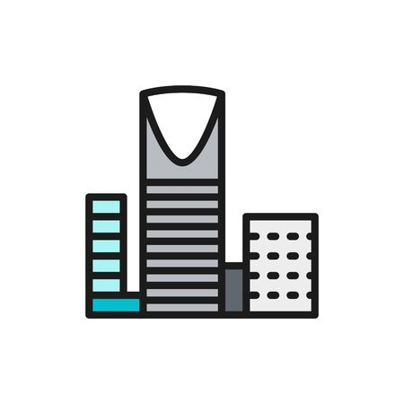 Burj Al-Mamlyak, Kingdom Center, skyscraper flat color line icon.