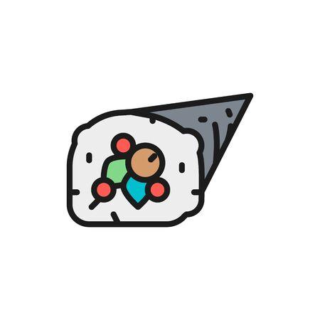 Vector temaki roll, japanese cuisine flat color line icon. Ilustracja