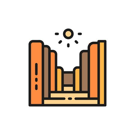 Grand Canyon in Arizona National Park, USA flat color line icon.
