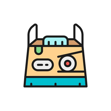 Sushi takeaway box, japanese cuisine flat color line icon.