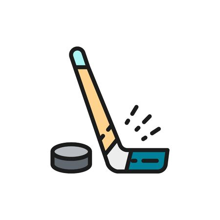 Vector hockey stick and puck flat color line icon. Vector Illustration
