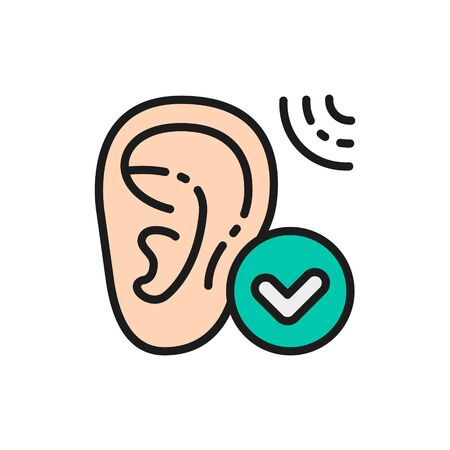 Vector good hearing, hearing test flat color line icon. Symbol and sign illustration design. Isolated on white background Vettoriali
