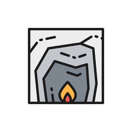 Vector cave life, fire, hearth, prehistoric home flat color line icon. Symbol and sign illustration design. Isolated on white background
