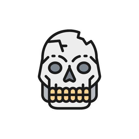 Primitive man skull, Pithecanthropus bones, human remains flat color line icon. Ilustração
