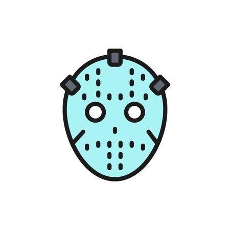 Vector hockey goalkeeper mask, protection uniform flat color line icon. Symbol and sign illustration design. Isolated on white background Çizim