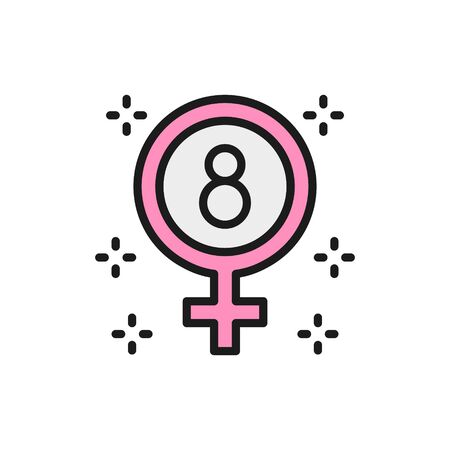 International Womens Day, gender symbol, female sign, feminism color line icon.