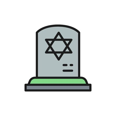 Tombstone with the star of david, gravestones, grave flat color line icon.